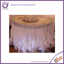 #860 hot sale beautiful curly willow designs and ruffled table skirt for wedding