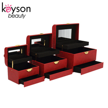 Keyson Three Different Size Red Leather Makeup Train Case with Mirror and Drawer