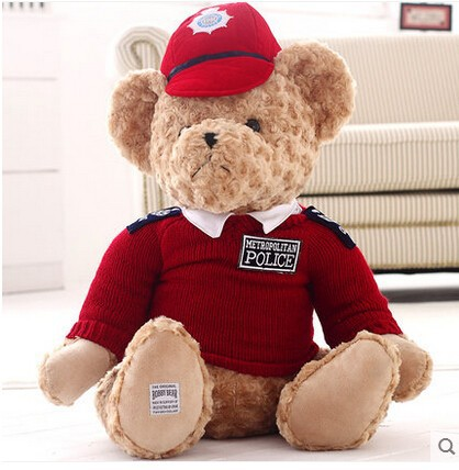 Real policemen bear plush toys, Clothing bear doll