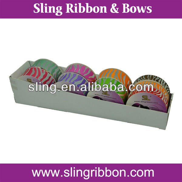 Silver Foil Print Satin Ribbon In Small Package
