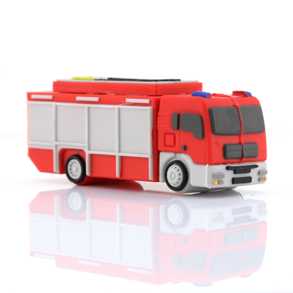 Promotional gift soft pvc material customized logo fire truck shape usb key