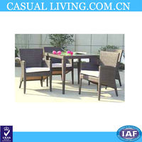 5 Piece Outdoor Patio Dining Set with White Cushions- UV Weather Resistant Rattan Wicker Seat for 4