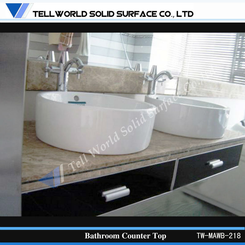 double sink solid surface bathroom vanity top