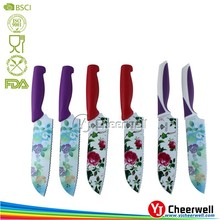 Flower Decal Chef Kitchen Knife