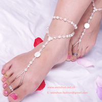 Wholesale Girl Fresh Pure Pearl Beads String Anklet