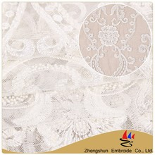 Zhengshun textile beautiful white flower embroidery 100% cotton african net lace fabric with low price