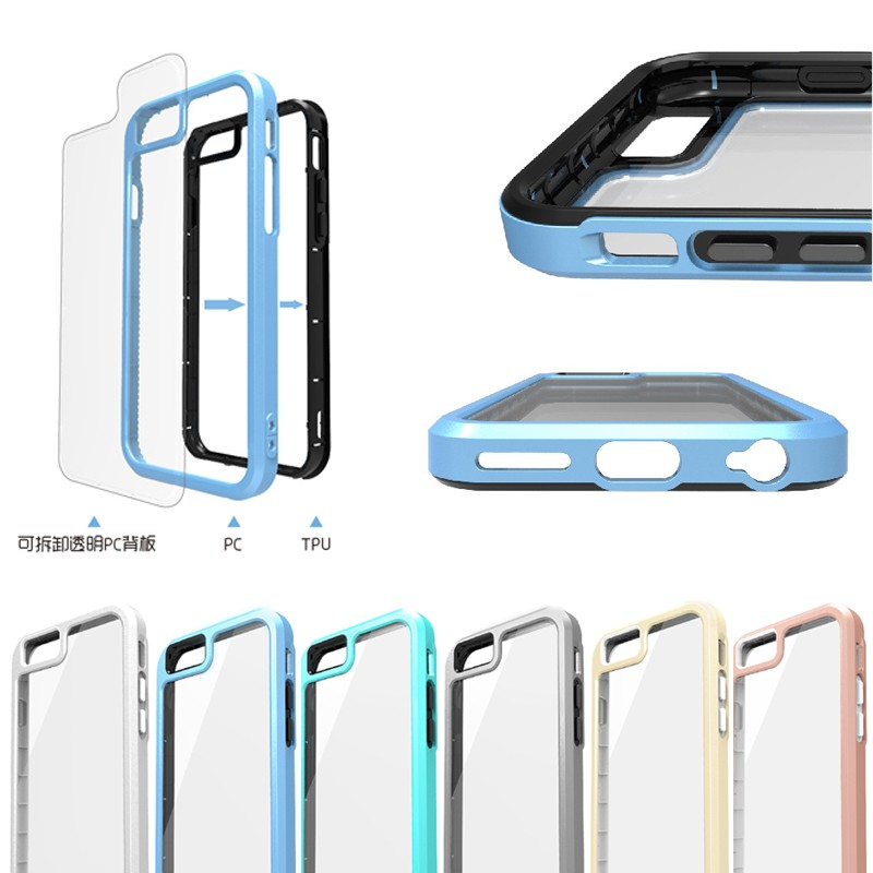 mobile case for iphone 6 6s, 2 in 1 detachable clear back cover TPU + PC bumper case for iphone 6 6s
