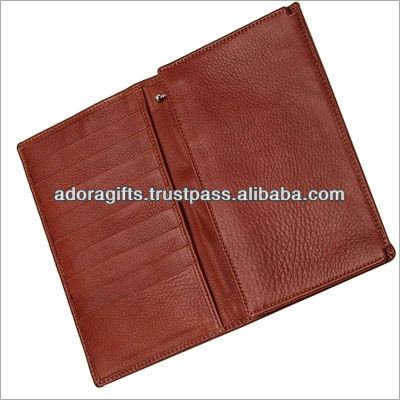 Leather business men travel men long wallet with coin pouch and phone seats