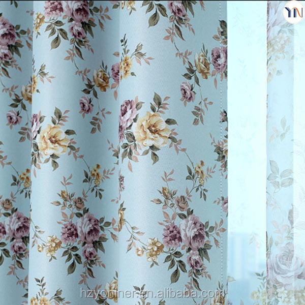 floral print curtain for home curtain, pastoralism curtain for interior decoration, finished curtain manufacturer