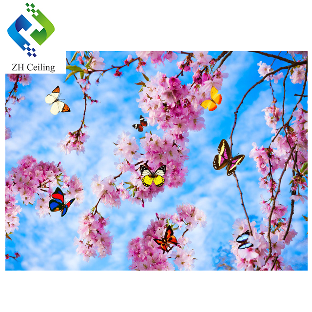 3.2mWx2.1mH per piece new morden suspended tiles zh ceiling 3d visual peach blossom print pvc stretch ceiling film