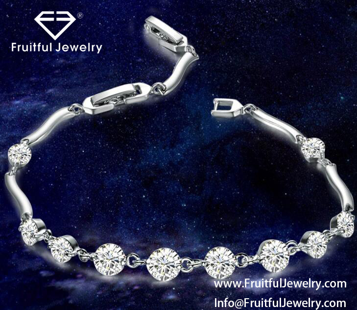 Wholesale new high-grade silver plated crystal copper material Zircon Bracelet elegant jewelry