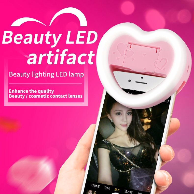 Selfie Portable Flash Led Heart Shaped Selfie Ring Light with mirror for camera phone