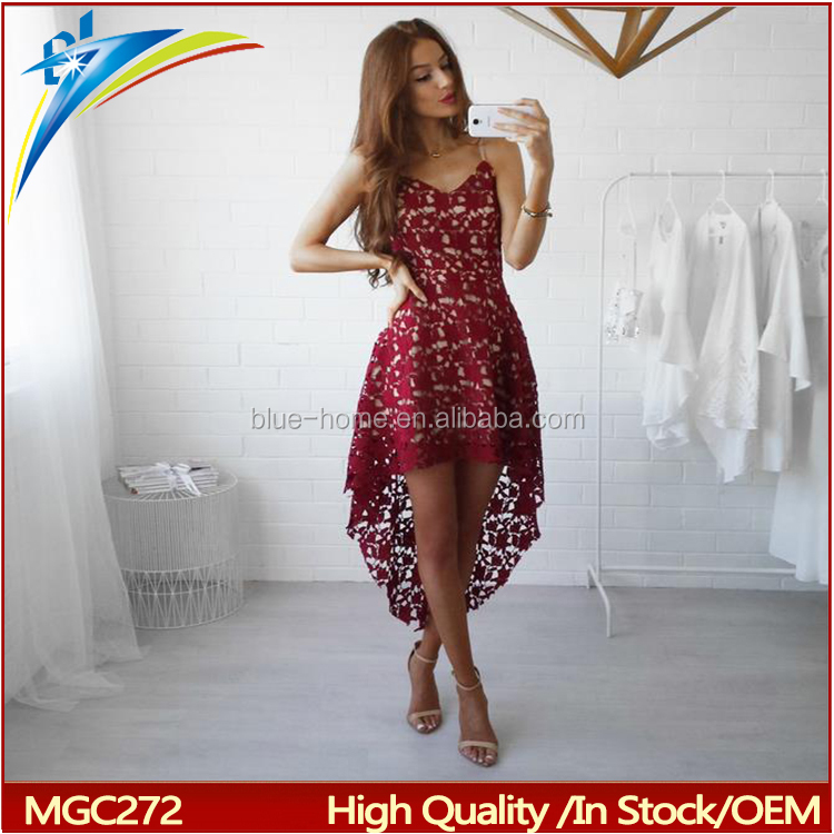 Women Sexy Elegant High Quality bohemian Dress Casual Hollow Out lace spaghetti strap dress