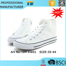 Unisex latest Vulcanized high cut White canvas shoes Wholesale
