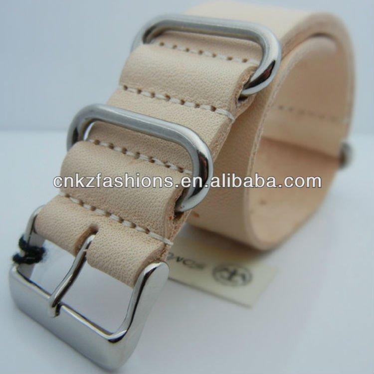 Beige <strong>color</strong>, 20mm/22mm military style <strong>G10</strong> leather Nato strap