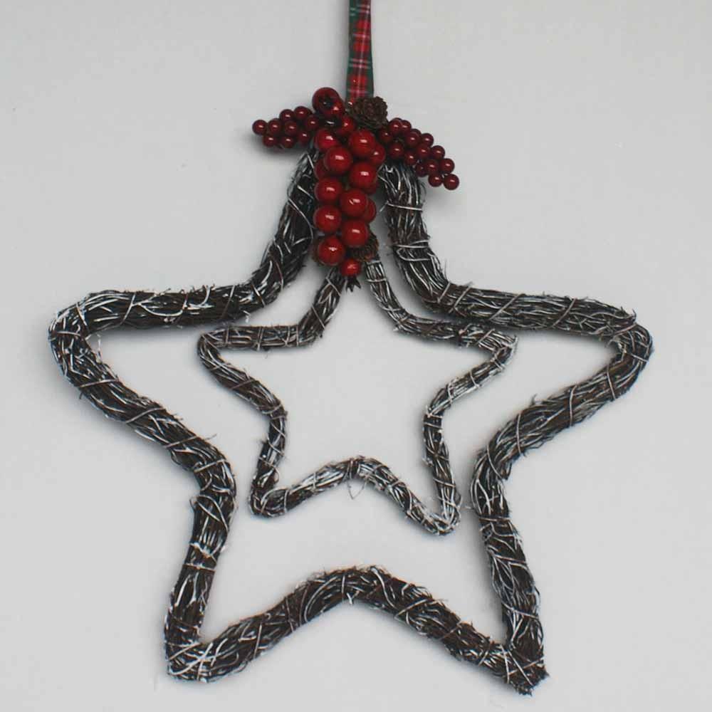 Christmas Decoration Wreath Rattan Double Heart Double Star Wreath ...