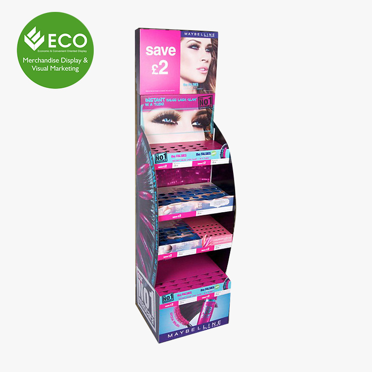 E Paper Makeup Hair Extension Cardboard Cosmetic Display Stand