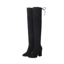 sexy winter cowhide flock pointed toes chunky heels ladies boots thigh high
