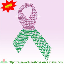 Pink ribbon with wings breast cancer iron on hotfix rhinestone heat transfer breast cancer applique For shirts pink (20)