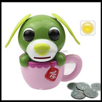 OEM Magic Solar Energy Tea Cup Dog Plastic Money Box,custom Plastic piggy money box;custom plastic coin bank manufacturer
