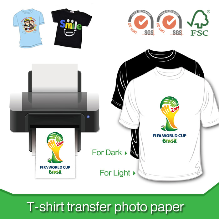 T shirt transfer photo paper for light and dark t shirt for Best quality t shirt transfer paper