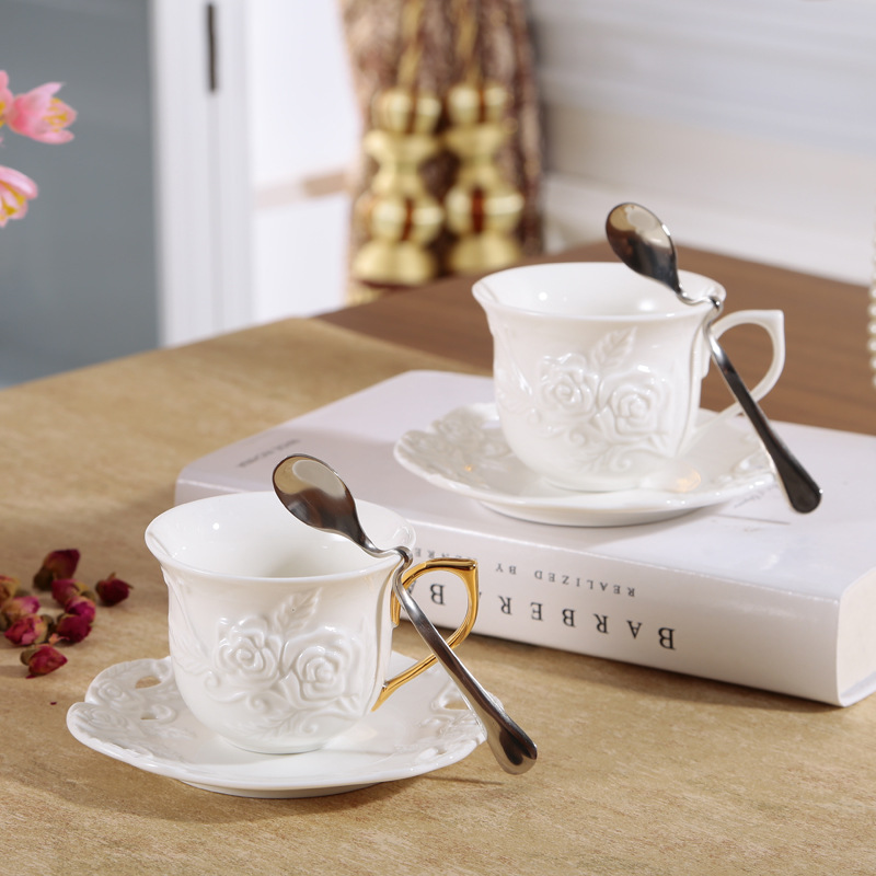 New products high quality 180ml Rose Bone China coffee cups and saucers for gift