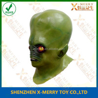 X-MERRY Halloween Scary Masks Latex Mask Red Devil Monster Alien Moving Mouth Green Devil Mask Head