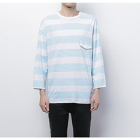 New Korean man falls in spring and summer youth T - shirts loose rotator cuff Stripes three - quarter length sleeves T - shirt f