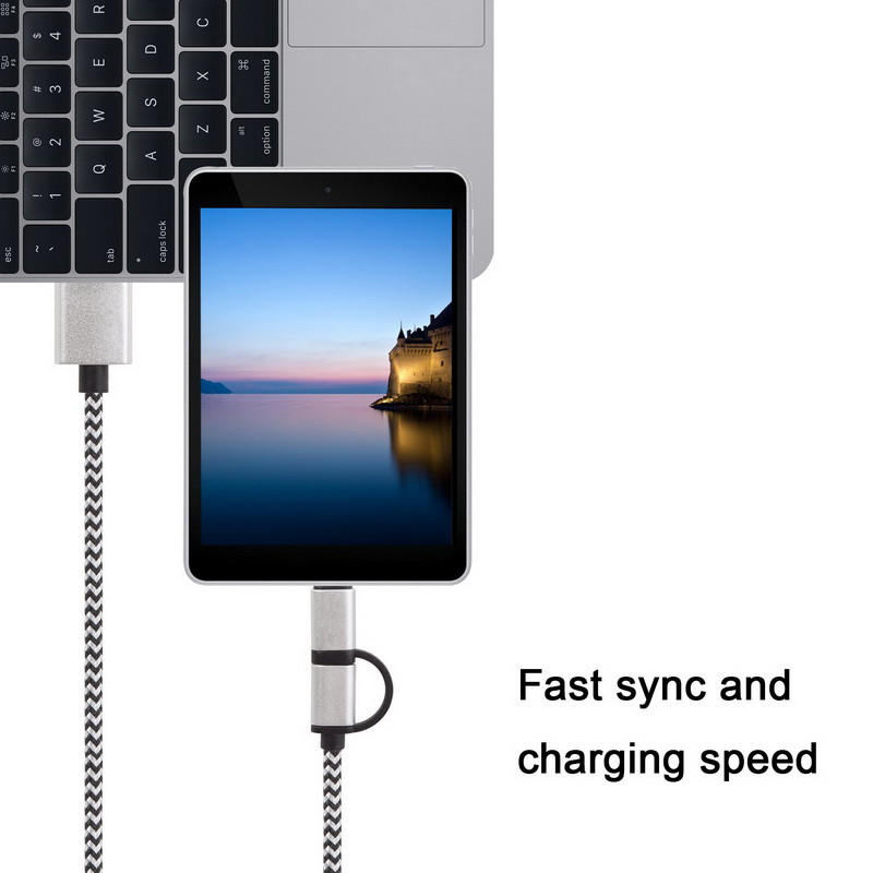 Wholesale 2 in 1 USB Date Sync Charging Charger Cable/ Fast Transmit Micro USB Data Cable/ Micro USB Cable For iphone and ipad