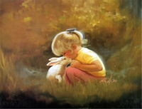 Wholesale Handwork Cute Girls and Rabbit Canvas Oil Menglei Painting by Numbers