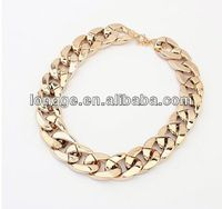2014 wholesale cheap gold plating fashion jewelry UK CELEBRITY STYLE CHUNKY CHAIN GOLD STATEMENT NECKLACE