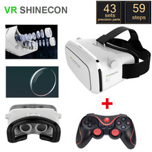 VR SHINECON moke VR Virtual Reality 3D Glasses Helmet Google Cardboard + bluetooth controller gamepad Android phones in stock