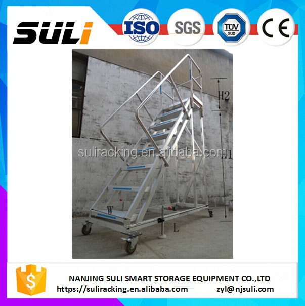 OEM warehouse stainless steel industrial rolling mobile platform step ladder with 4 wheels