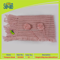 top 10 best selling tassels and pom pom fashion lady's crochet knit shawl