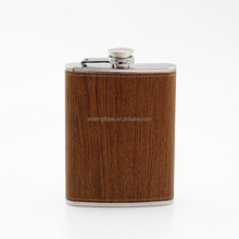 8oz wood wrapped hip flask supplier