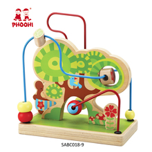 Preschool educational toy forest wooden children bead maze game for kids 1+