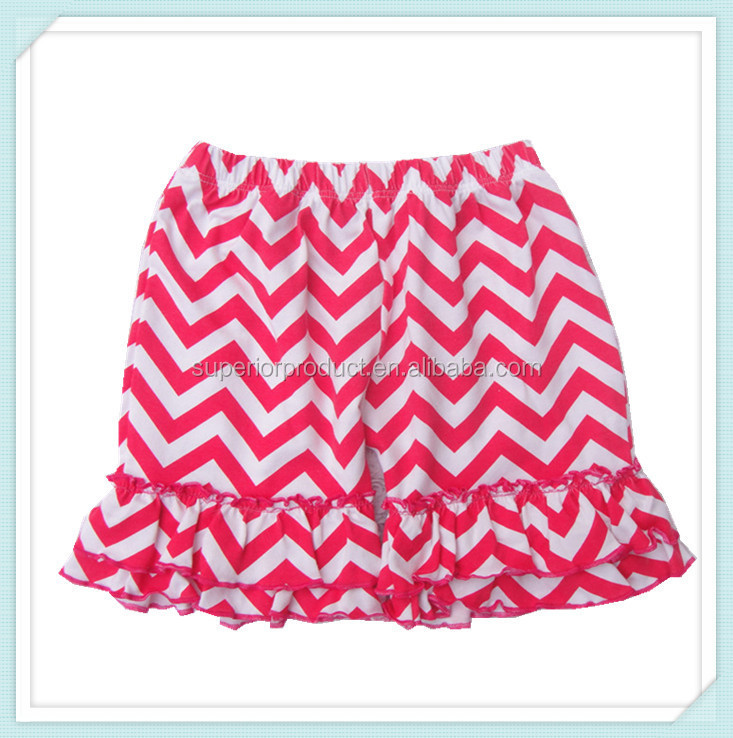 Hot Sale Chevron cotton Girl ruffled shorts in stock baby double ruffled shorts boutique children shorts multicolor optional