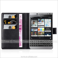 lichee Leather Wallet Mobile Phone Case Back Cover For Blackberry Passport Silver Edition