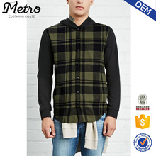 OEM Service Long Sleeve Hooded Plaid Flannel Shirt for Men