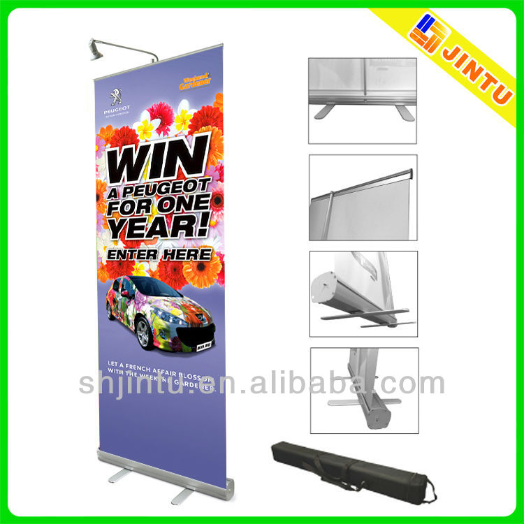 Flex banner stand and picture display racks