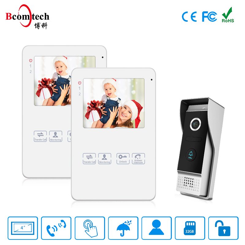 Bcomtech home security 4 inch memory villa video door phone intercom system