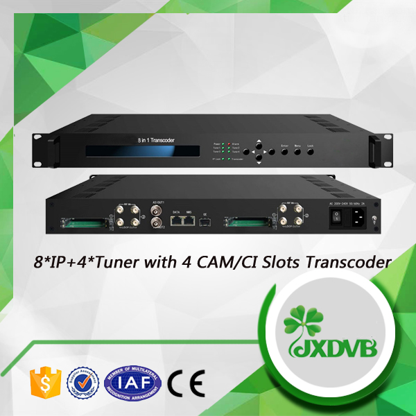 Tuner Input MPEG2 H.264 SD/HD any to any IPTV Transcoder with 4 CAM/CI Slots