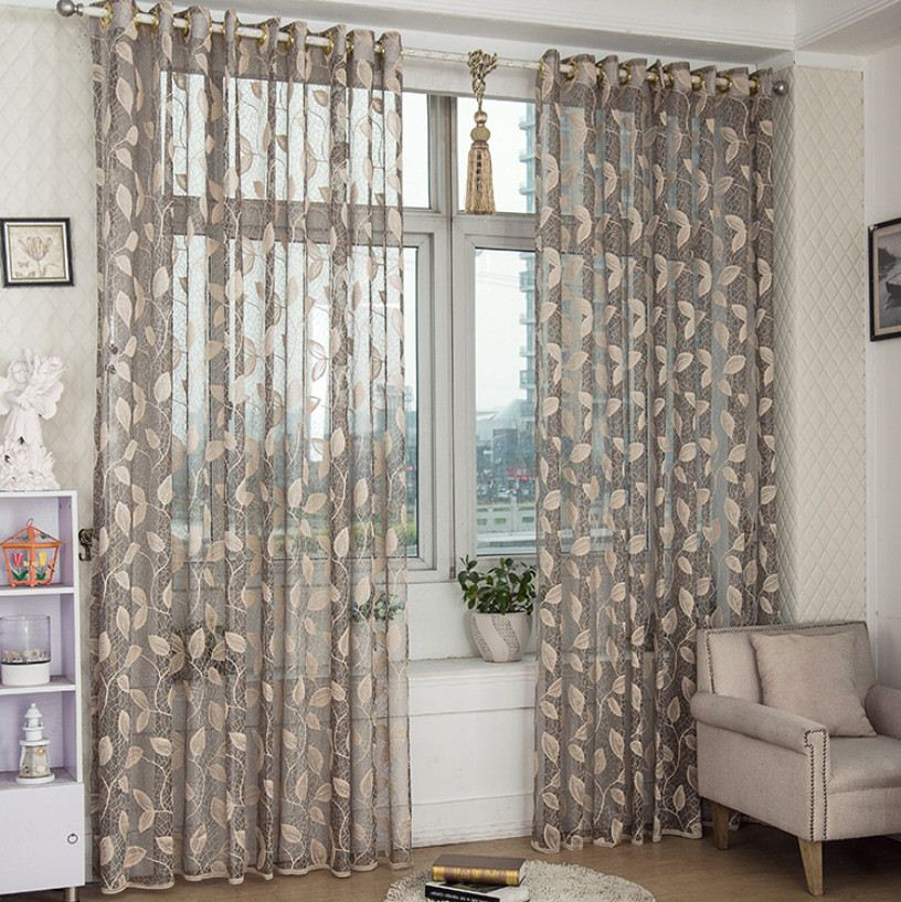 European style window screening sheer flocked tulle curtain for bedroom sitting room