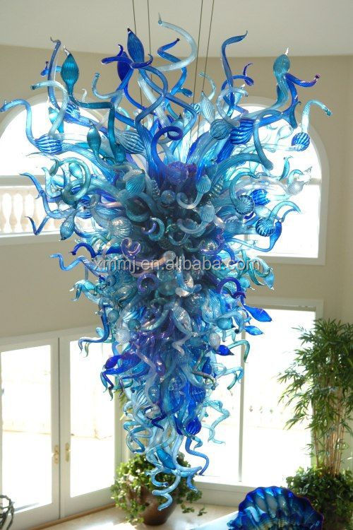 Modern Hand Blown art light blue Glass large crystal chandelier hotel