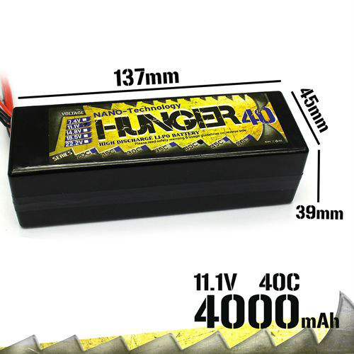 4000MAH 3S 40C MAX 80C 11.1V RC Car NANO TECH LIPO PACK BATTERY HUNGER