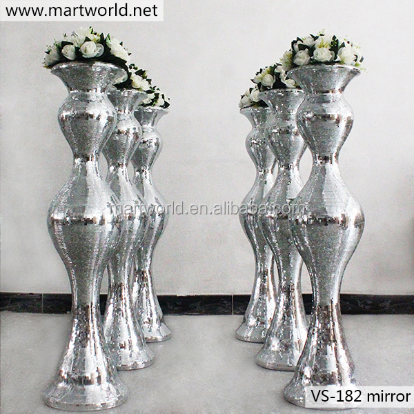2018 latest luxury wedding bling mirror surface glass fiber vase column pillar for wedding,hotel,party decoration (VS-182M)