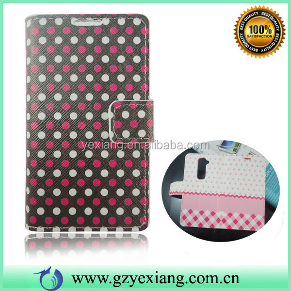 Factory Wholesale PU Back Cover For LG G2 Mini Flip Leather Case