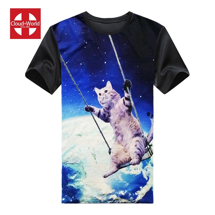 Professional super cute swing cat tee printing black tshirt custom