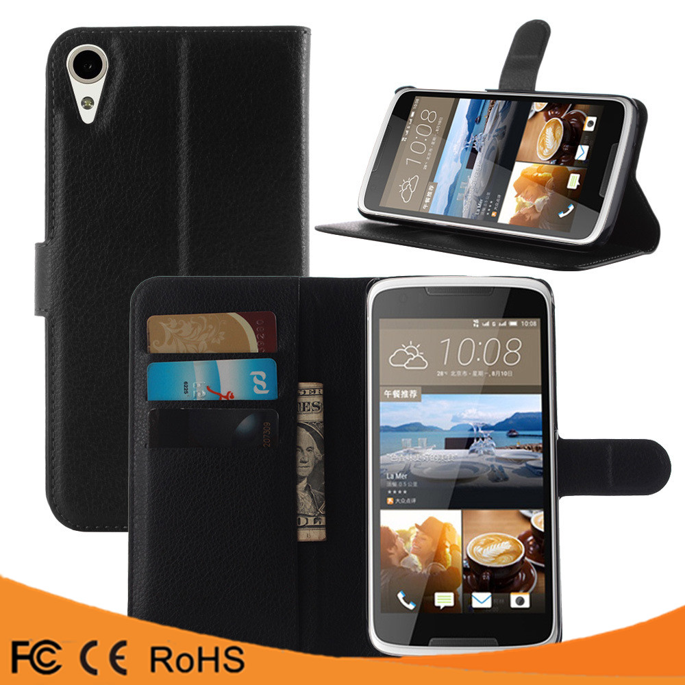 High quality leather flip PU case back cover case for HTC Desire 828