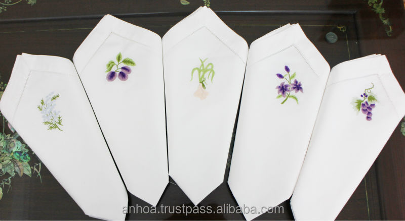 Hand embroidery cotton napkins, hemstitch napkins